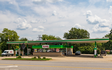 HICKORY, NC, USA-15 AUGUST 18:  Rosales Kwik Stop, Inc, an independent convenience store and BP gas station, on a main street in Hickory, NC.