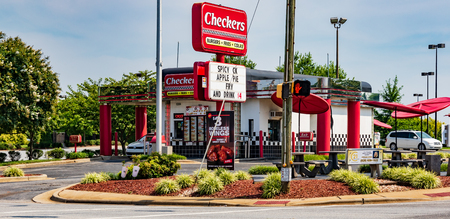 HICKORY, NC, USA-15 AUGUST 18: A Checkers Fast food restaurant,  an American chain headquartered in Tampa, Florida. Editorial