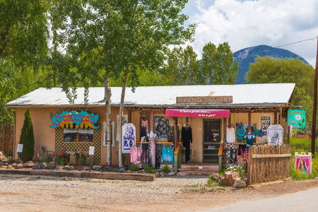 ARROYO SECO, NM, USA-12 JULY 18:   Francescas specialty shop stands facing main street in this small, artsy tourist town near Taos.