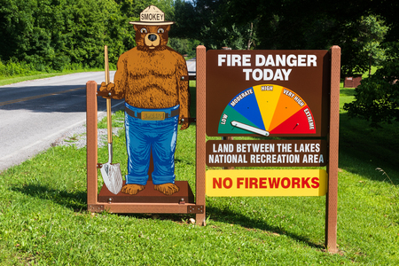 DOVER, TN,  USA-30 MAY 18: An image of Smokey the Bear warns of fire danger in Land Between the Lakes area in western Kentucky and Tennessee.