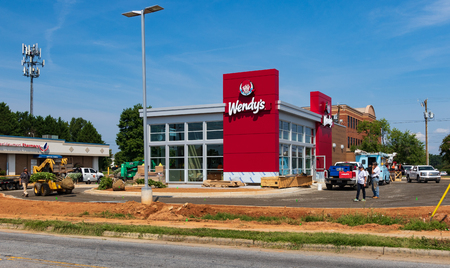 HICKORY, NC, USA-15 AUGUST 18: A new Wendys nears completion, with an updated look.