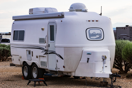 TAOS, NM, USA-7 JULY 18: A  small, US-built, fiberglass Oliver travel trailer sets in an RV park. Editorial