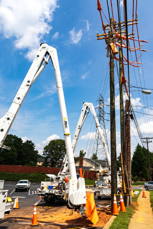 HICKORY, NC, USA-15 AUGUST 18: Boring equipment lined up to install utility poles.