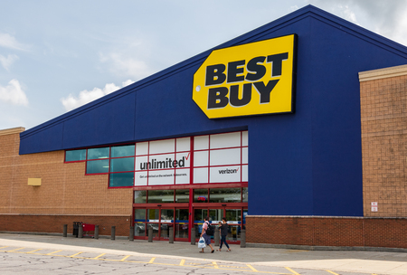 HICKORY, NC, USA-20 AUG 2018: A Best Buy store, a retailer of consumer electronics, operating in the U.S., Canada and Mexico.