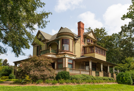 HICKORY, NC, USA-19 AUG. 2018: The Harper house  was built in 1887, and is considered one of the finest examples of Queen Anne design in the state.