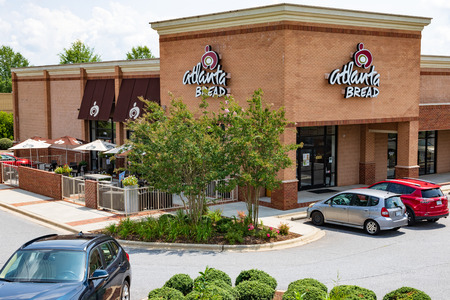 HICKORY, NC, USA-20 AUG 2018: Atlanta Bread Co., store.  Company is privately owned cafe chain, with stores franchised throughout US.