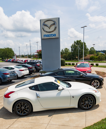 HICKORY, NC, USA-20 AUG 2018: A Mazda dealership displays new vehicles.
