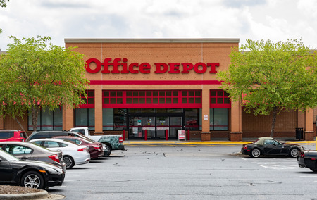 HICKORY, NC, USA-20 AUG 2018: An Office Depot storefront., selling office supplies, furniture, and computers. Editorial