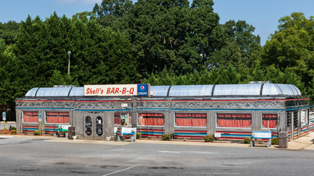 HICKORY, NC, USA-9/2/18: Shell's BAR-B-Q is a 1950's style restaurant.