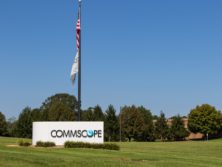 CATAWBA, NC, USA,--83118: Sign, flagpole and grounds of Catawba facility of Commscope, mfr. of cable and other infrastructure components.