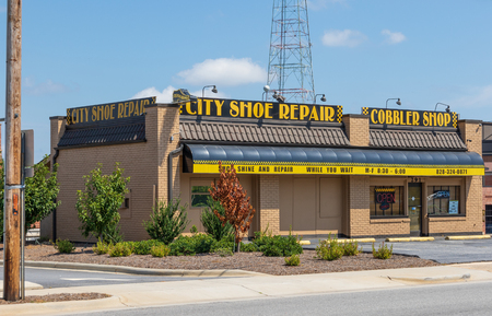 HICKORY, NORTH CAROLINA,  USA-9118: A local shoe repair cobbler shop.