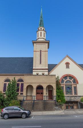 JOHNSON CITY, TN, USA-93018: The Downtown Christian Church on Main Street.