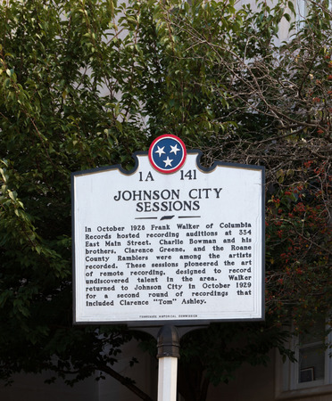 JOHNSON CITY, TN, USA-9/30/18: An Historic Commission marker relating a series of early recording sessions of traditional Appalachian and country musicians. Editorial