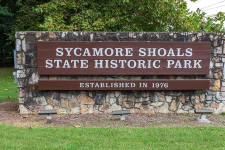 ELIZABETHTON, TN, USA-10/1/18: Entrance sign at Sycamore Shoals State Park.
