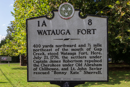 ELIZABETHTON, TN, USA-10118: Sign notes location of the Fort, attacked by Cherokee in 1776. Editorial
