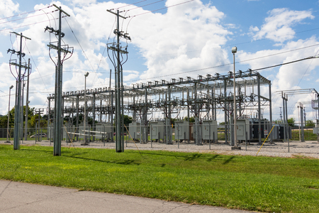 ELIZABETHTON, TN, USA-10118: Electrical substation with transformers in downtown.