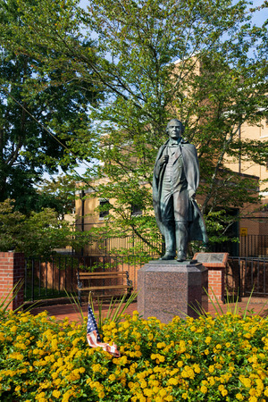 Greeneville, TN, USA-10-2-18: A statue of President Andrew Johnson stands in the Andrew Johnson National Historic site in Greeneville.