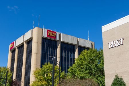 HICKORY, NC, USA-10/14/18: The local buildings of Wells Fargo and BB&T banks, in downtown.