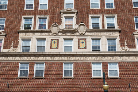 ASHEVILLE, NC, USA-101718:  A frieze and portion of a cornice, establishing the base of the Battery Park hotel building. Editorial