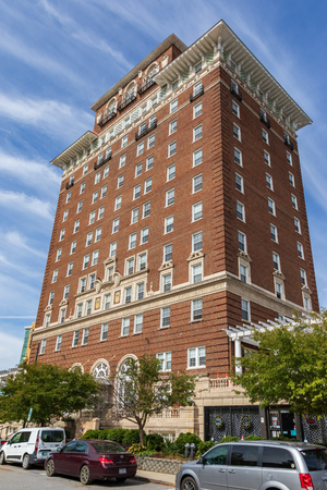 ASHEVILLE, NC, USA-10/17/18:  The Battery Park hotel building, now serving as senior citizens' apartments. Stock Photo - 110321185