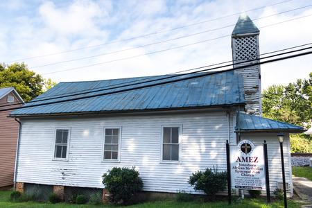 JONESBOROUGH, TN, USA-92918:  A small church on a back street in Jonesborough--The AMEZ, African Methodist Episscopal Zion Church, a denomination offically formed in New York City in 1821. Editorial