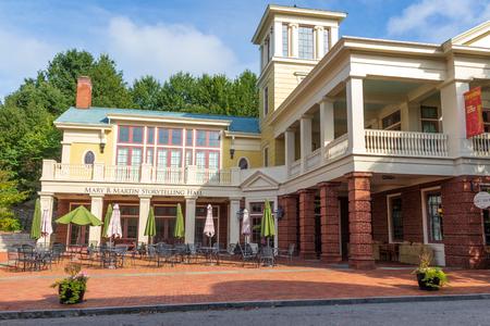 JONESBOROUGH, TN, USA-92918: The Mary B. Martin Storytelling Hall, on main street,