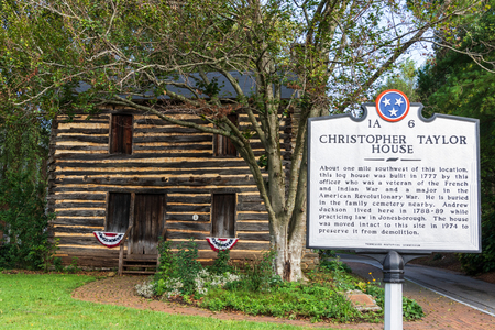 JONESBOROUGH, TN, USA-92918:  Christopher Taylor log house, built in 1777.