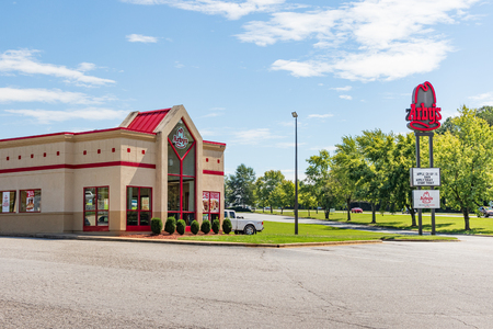 HICKORY, NORTH CAROLINA, USA- 91818: An Arbys fast food restaurant building and road sign. Editorial