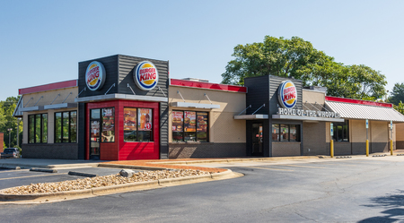 LENOIR, NC, USA-23 AUG 2018: Burger King restaurant, one of a global chain founded in 1953.