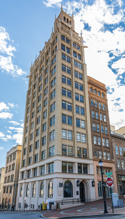 ASHEVILLE, NC, USA-102518:  The Jackson building on Pack Square is a Neo-Gothic structure built on a 27 by 60 foot lot in 1924.