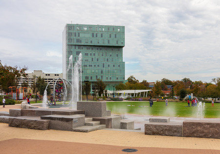 CHARLOTTE, NC, USA-110818: The First Ward Park includes spacious playgrounds.