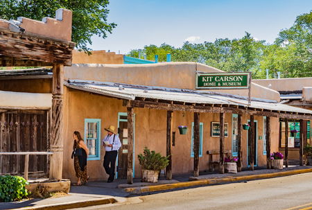 TAOS, NM, USA-070818: The actual Taos home of Kit Carson, turned into a museum. Editorial