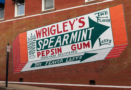 LINCOLNTON, NC, USA-112518: A refreshed painted advertisement for Wrigleys Spearmint Pepsin Gum on a brick wall in downtown.