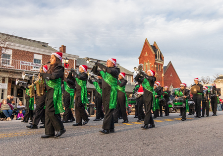 LINCOLNTON, NC, USA-11/25/18: The Lincolnton High School Band participates in the annual Christmas parade.