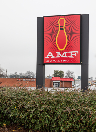 HICKORY, NC, USA-1319: AMF Bowling Co. operates bowling centers and manufactures bowling equipment. Editorial