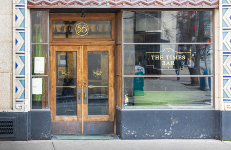 ASHEVILLE, NC, USA-11819: The Times Bar, located on Batterry Park Ave., in the former S&W cafeteria building.