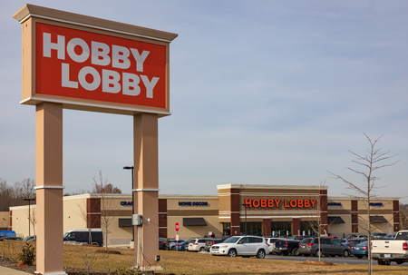 HICKORY, NC, USA-12-19-18: Hobby Lobby, one of more than 800 privately-owned chain of arts and crafts stores.