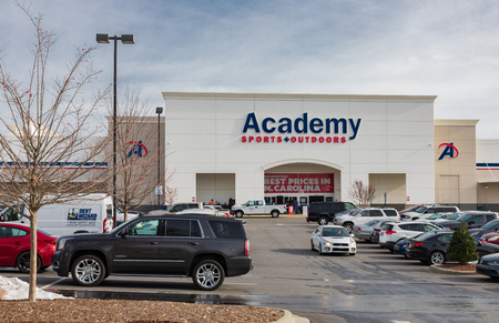 HICKORY, NC, USA-12-19-18: A local Academy Sports + Outdoors store, one of a chain of discount sporting good, based in Harris County, Texas.