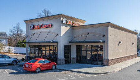 NEWTON, NC, USA-122618: Little Caesar Enterprises, Inc. is the third largest pizza chain in the US, after Pizza Hut and Dominos Pizza.  Currently, there are 5460 US and international locations.