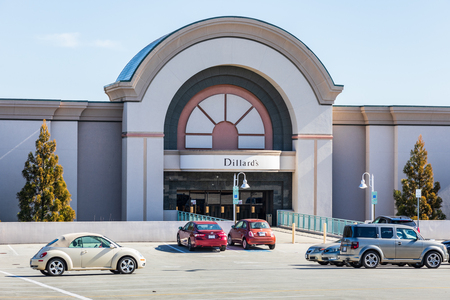 HICKORY, NC, USA-2519: Dillards Department Store entrance at Valley Hills Mall.