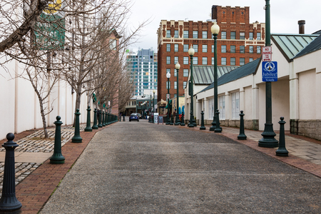 ASHEVILLE, NC, USA-11819: Wall Street, mostly empty, on a winter day in downtown.