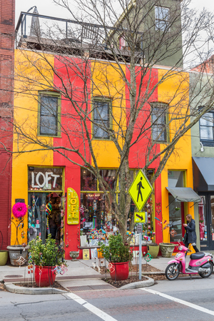 ASHEVILLE, NC, USA-11819: A colorful store in downtown Asheville, called 에디토리얼
