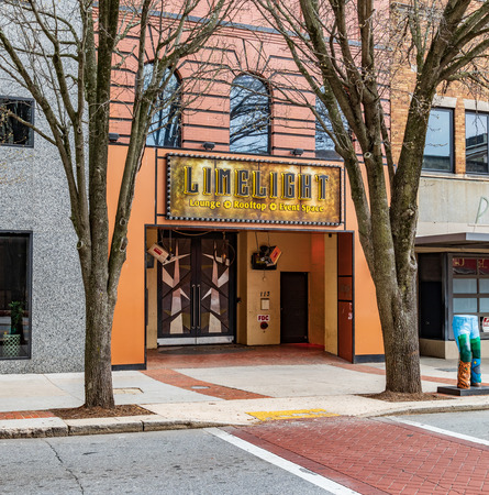 GREENSBORO, NC, USA-21419: Entrance to the Limelight Lounge, on Elm St. Editorial