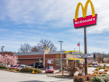 GREENSBORO, NC, USA-2/14/19: The McDonald's fast food restaurant in Guilford College. Editorial