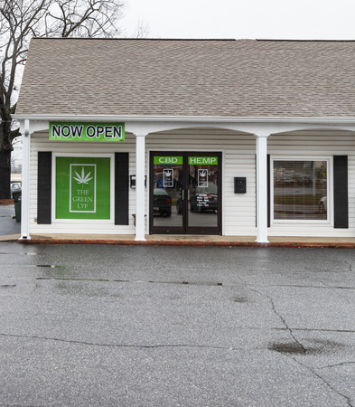 HICKORY, NC, USA-22219: A store advertising CBD for sale, one of the canabinioids in the hemp plant.