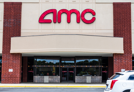 HICKORY, NC, USA-6 JUNE 18: Front exterior of AMC movie theaters. Editorial