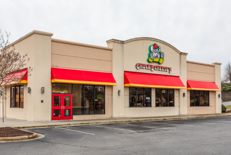 HICKORY, NC, USA-2/28/19: One of over 600 Chuck E. Cheese's restaurants and family entertainment centers.