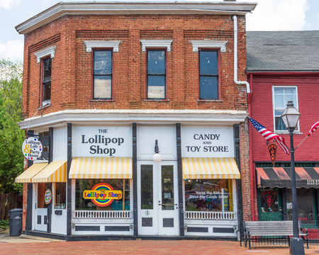 JONESBOROUGH, TN, USA-42819: The Lollipop Shop, candy and toy store, on Main Street in Jonesborough.