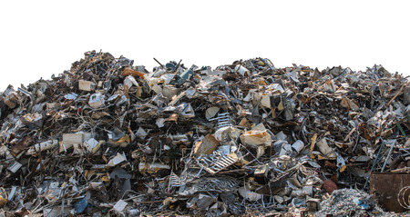 A large pile of metal scrap isolated on white background. Banque d'images