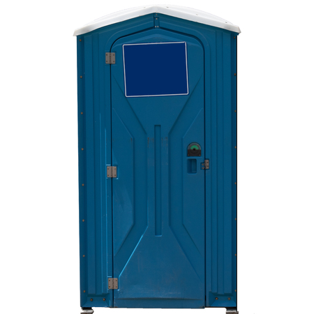 Portable blue toilet with blank sign on door.   Isolated on white background.